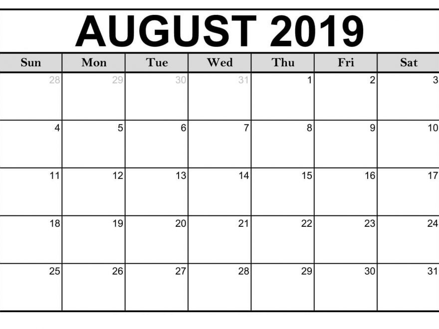 photo regarding Calendars Printable named Editable August 2019 Printable Calendar Blank Template -