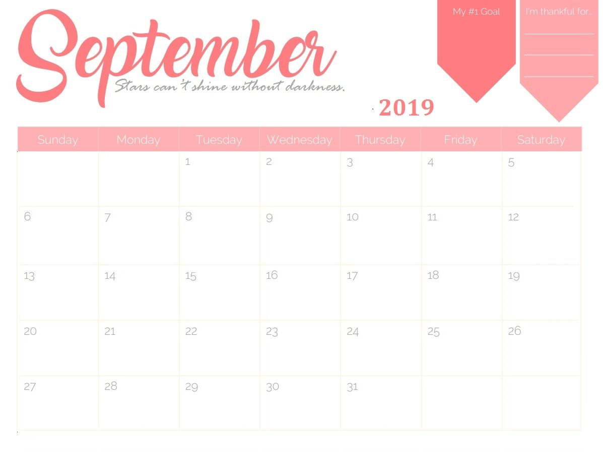 Editable September 2019 Printable Calendar Blank Template