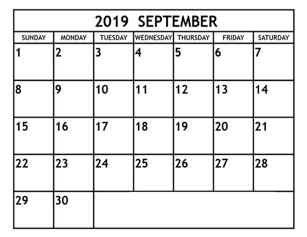 Editable September 2019 Printable Calendar Blank Template Daily