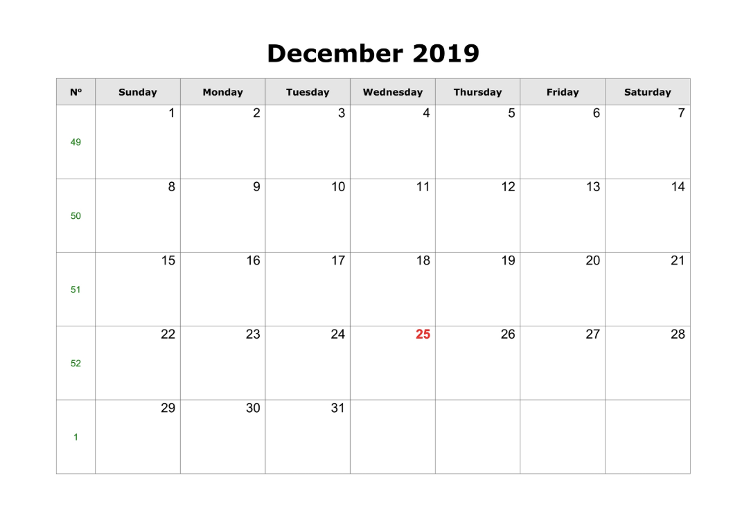 graphic about Free Printable Calendar Dec named December 2019 Printable Calendar - Establish Your Calendar for