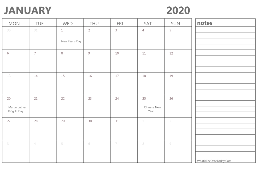 picture regarding Free Printable 2020 Calendar With Holidays identified as Ko-fi - Free of charge January 2020 printable calendar - Ko-fi