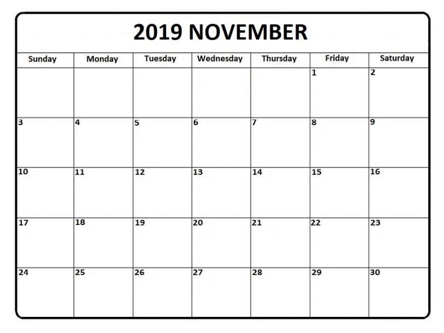 picture about Printable November Calendars called November 2019 Calendar Printable - Establish Your Calendar for