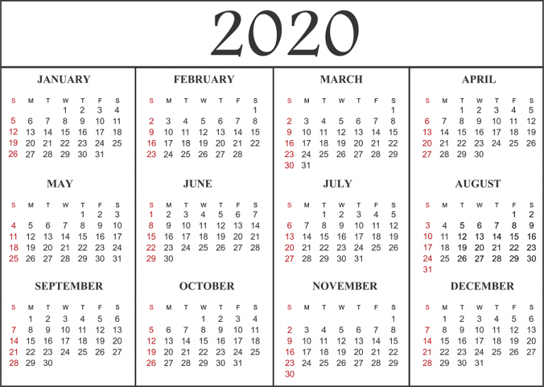 2020 Printable Yearly Calendar.2020 Printable Calendar Download Free Blank Templates