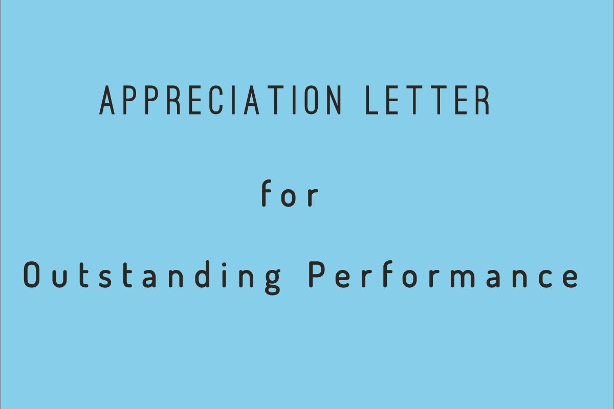 Appreciation Letter For Outstanding Performance