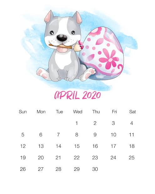 Cute April 2020 Calendar Desktop Wallpaper Template