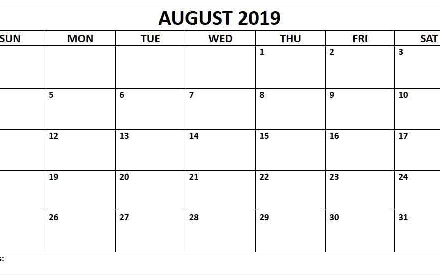 Blank 2019 Calendars Editable August 2019 Printable Calendar Blank Template   Daily