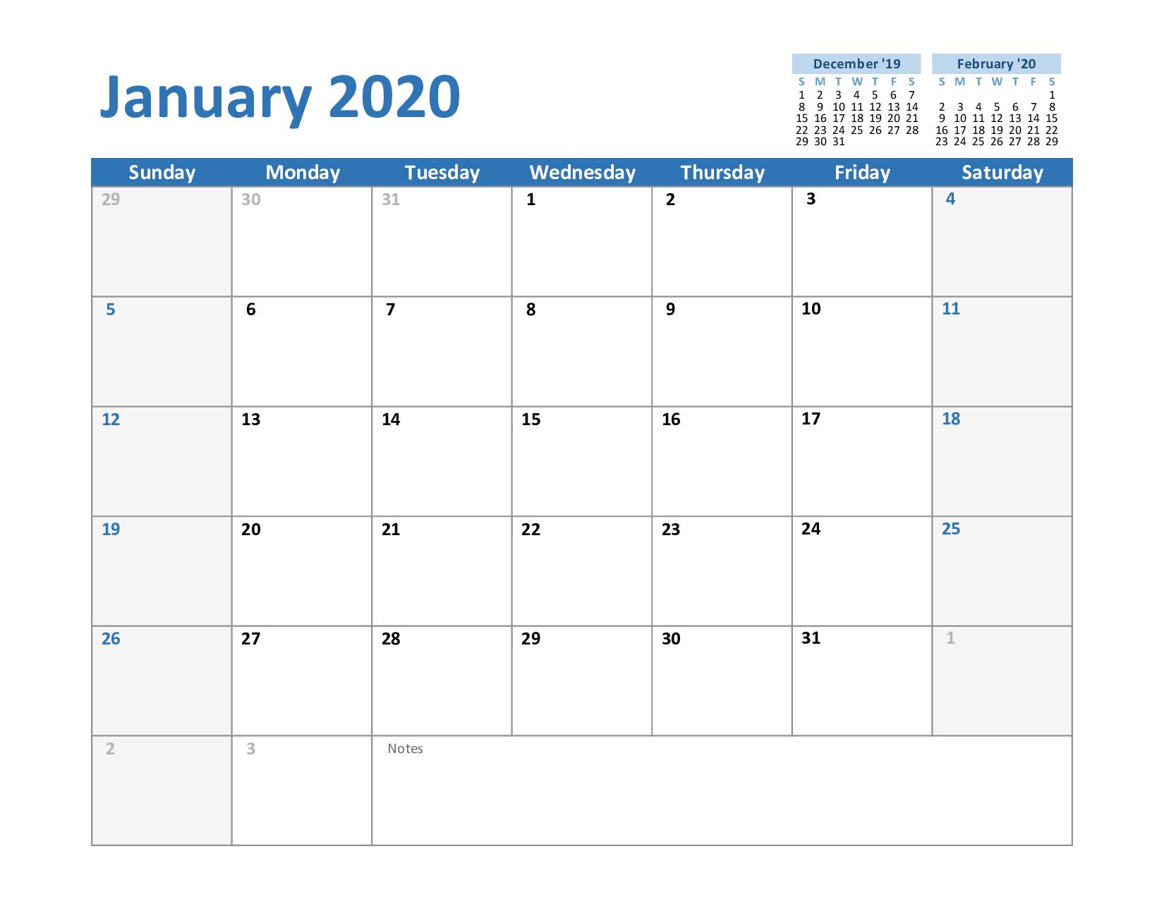 Create Your January 2020 Calendar Printable - Editable ...