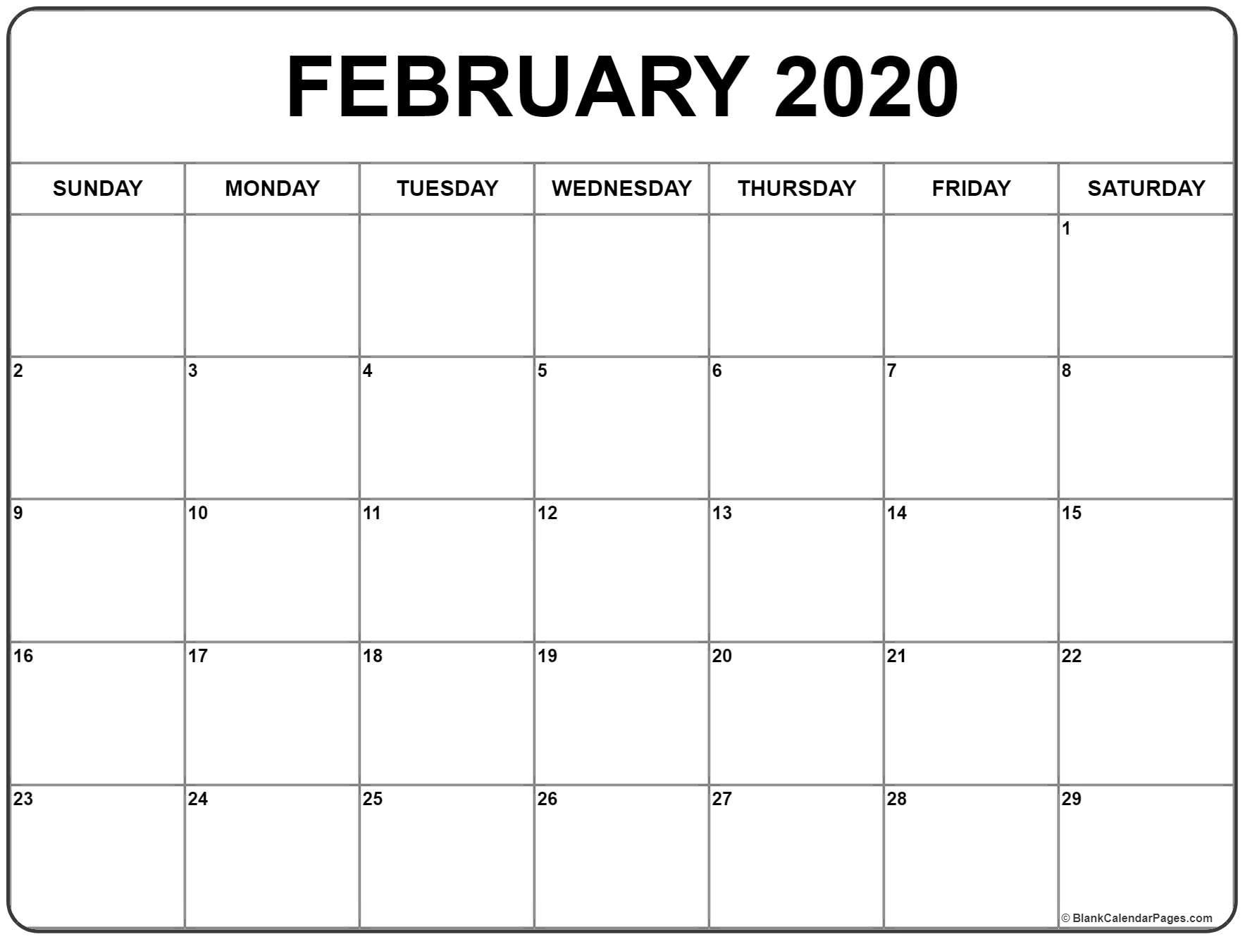 Free February 2020 Printable Calendar Free February 2020 Calendar Printable (Leap Year)   Blank