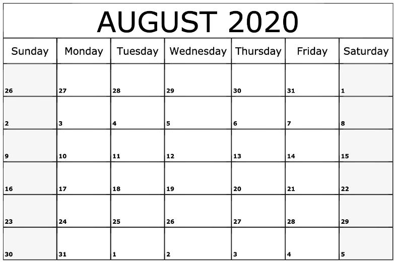Free Printable Calendar Templates October 2020