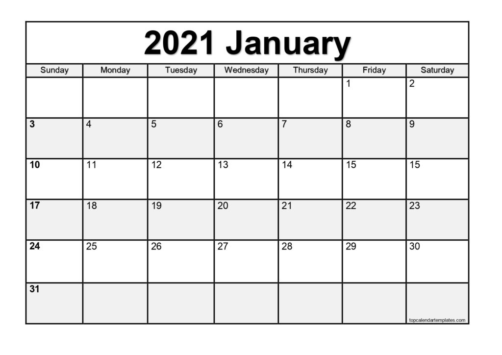 Free January 2021 Calendar Printable Blank Templates