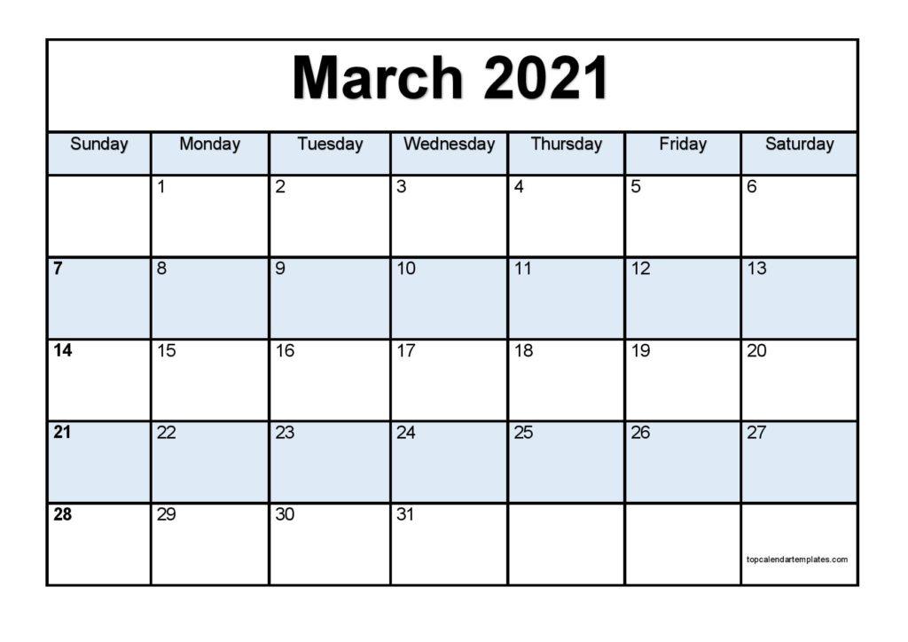 Free March 2021 Calendar Printable - Blank Templates